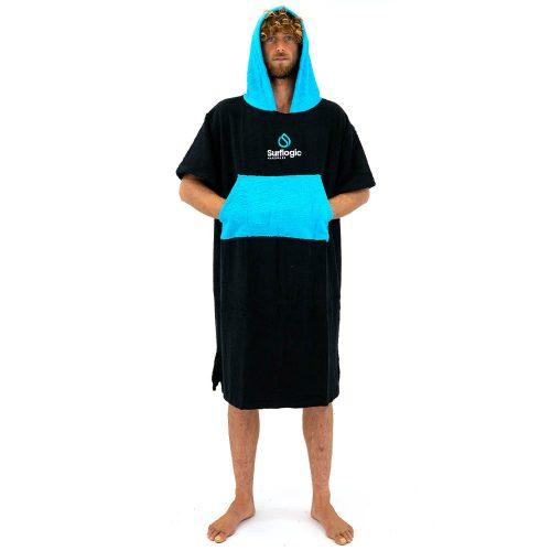 Surflogic Poncho DryRobe Black Cyan
