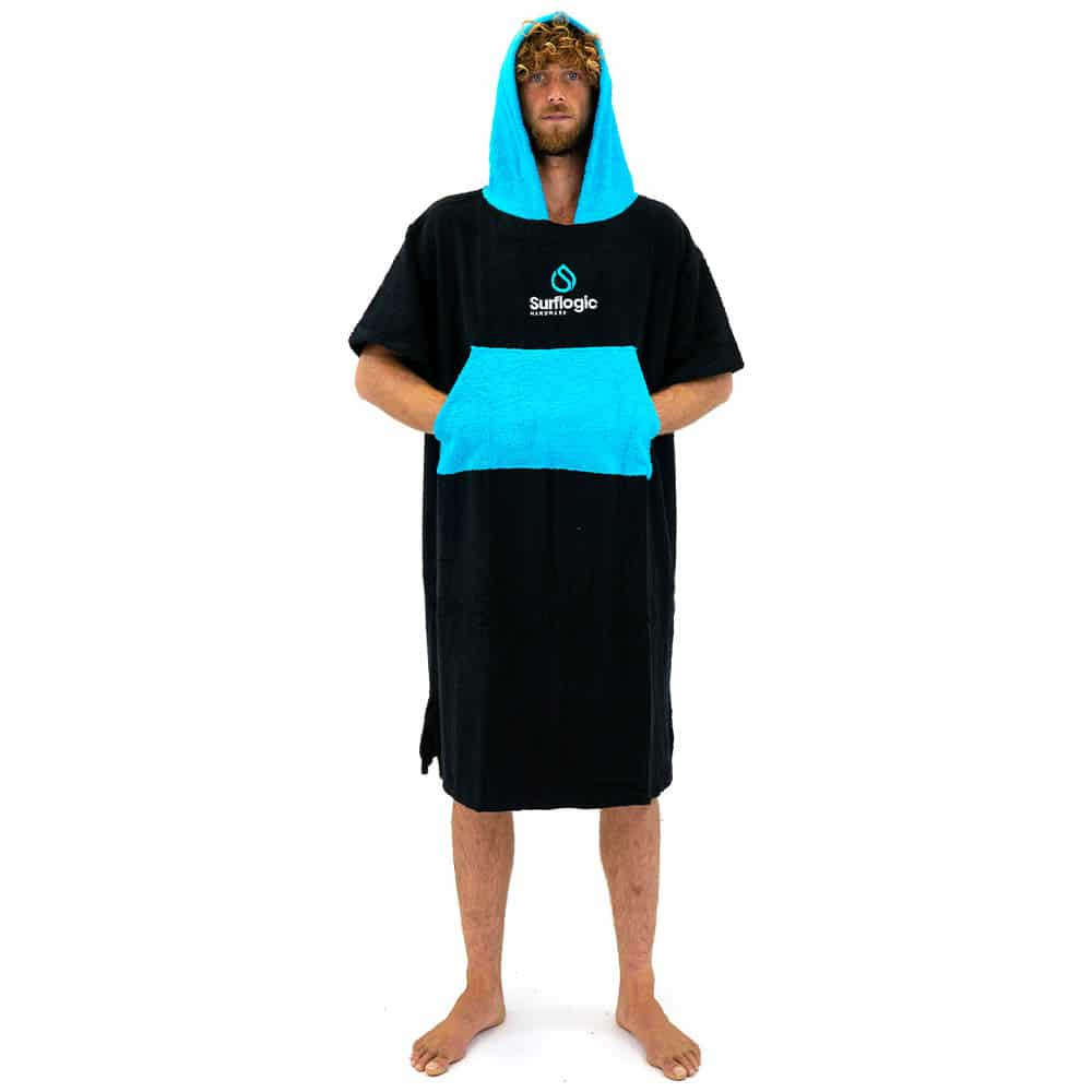 Surflogic Poncho DryRobe Black Cyan